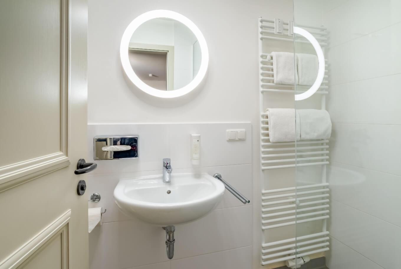 Dasw Badezimmer in unserem Boardinghouse in Augsburg.