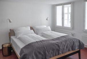 Doppelbett in unserem Boardinghouse Augsburg.
