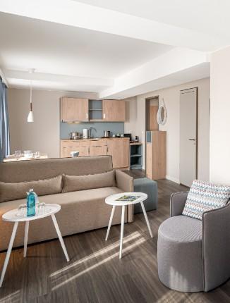 Wohnbereich vom Arthotel ANA Living Oberhausen.