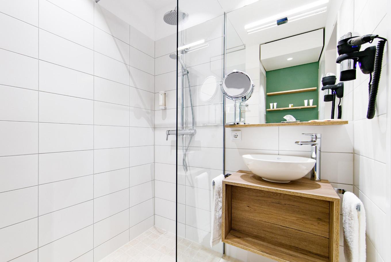 Die Dusche in unserem Hotel in Göppingen.