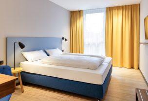 Die Betten in unserem Doppelzimmer im Hotel in Göppingen.