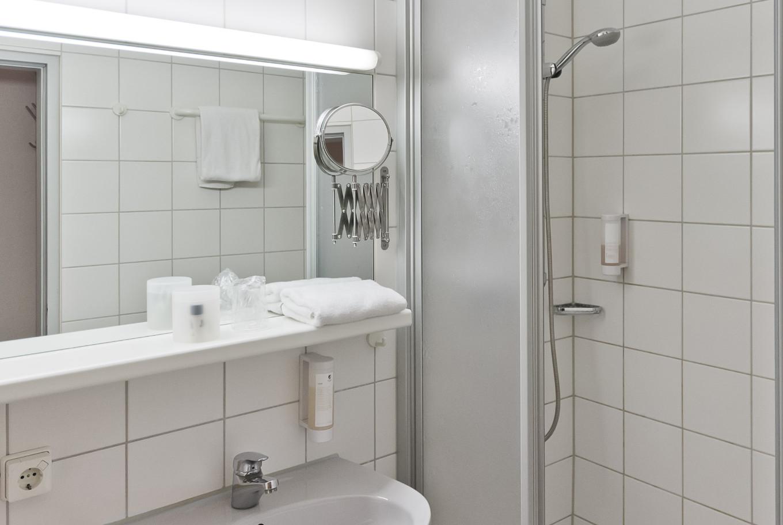 Eines unserer Badezimmer im Hotel Stuttgart.