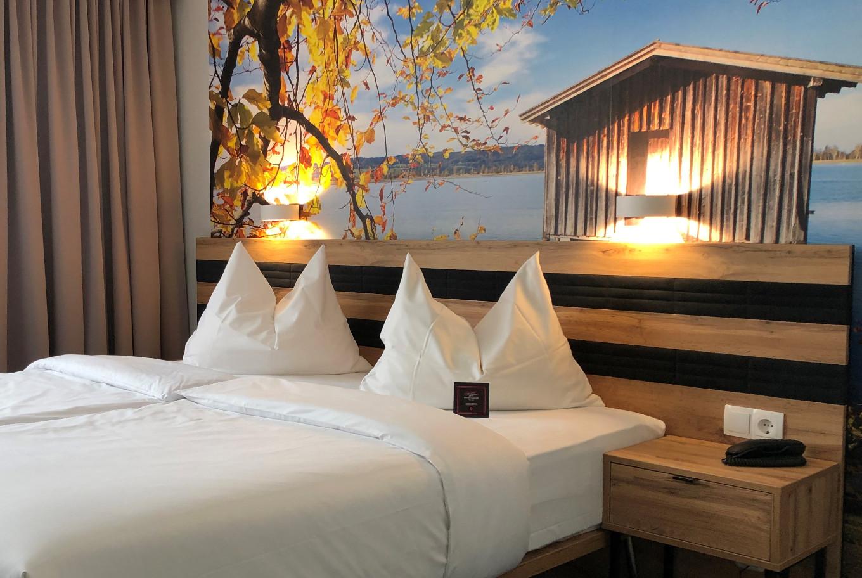 Die Doppelzimmer in unserem Hotel in Darmstadt.